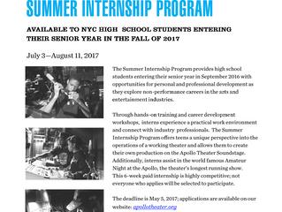 Summer Internship Program with the Apollo Theater Academy