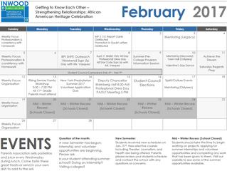 Our Monthly Calendars. Nuestro Calendarios Mensuales