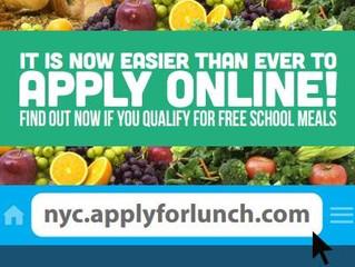 Apply For School Lunch Online! Aplique en Línea Para El Almuerzo Escolar!