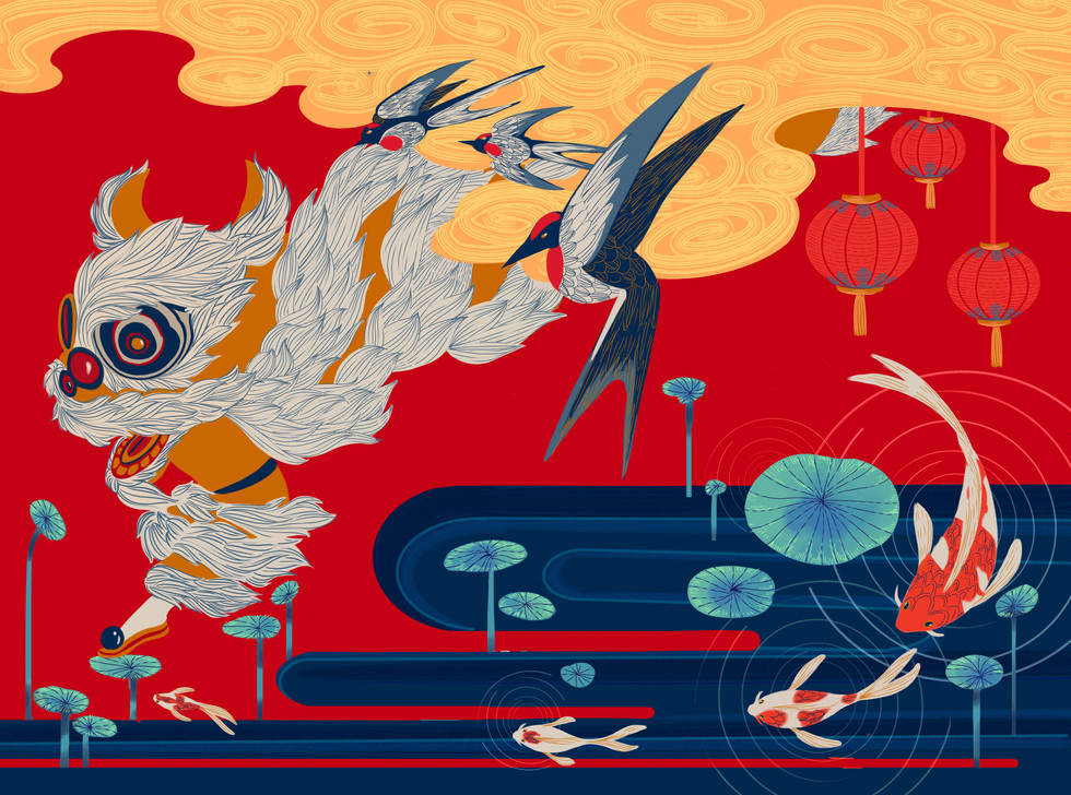 Lunar Festival: Lion Dance, Swallows, and Koi Fish