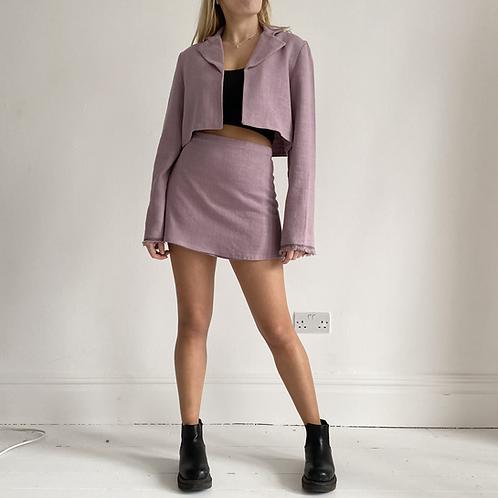 Dusty lilac linen wrap mini skirt