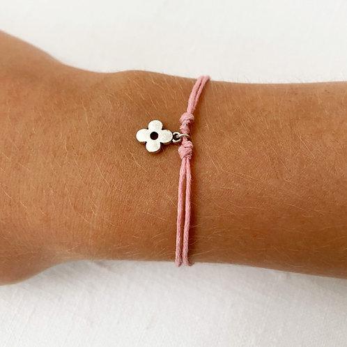 Pink daisy tie bracelet