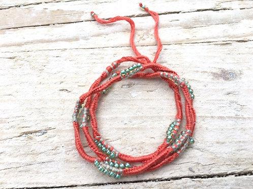 Aqua triple wrap bracelet