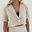 Thumbnail: Short sleeve cream linen shirt