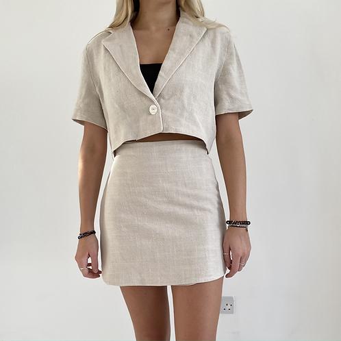 Cream linen wrap mini skirt