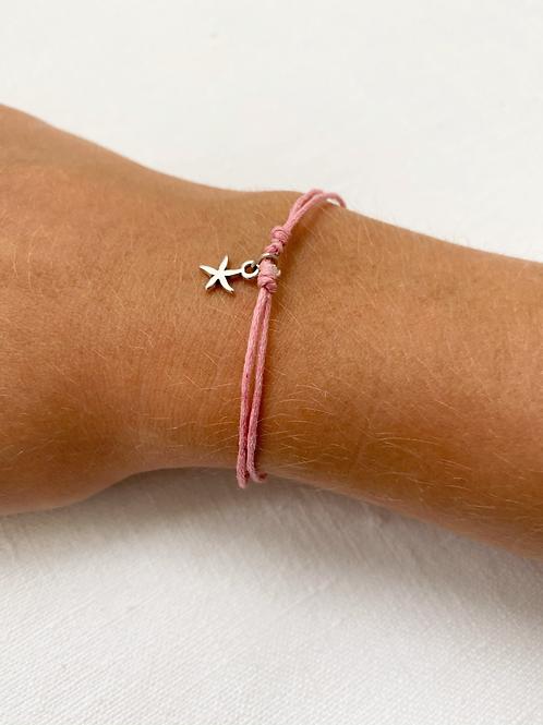 Pink starfish tie bracelet