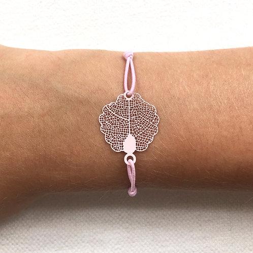 Pink oak leaf bracelet