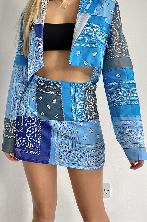 Patchwork blue bandana blazer top