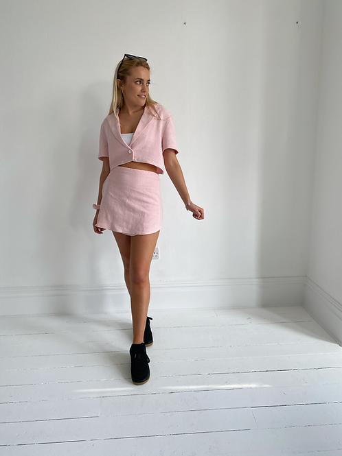 Baby pink linen wrap mini skirt