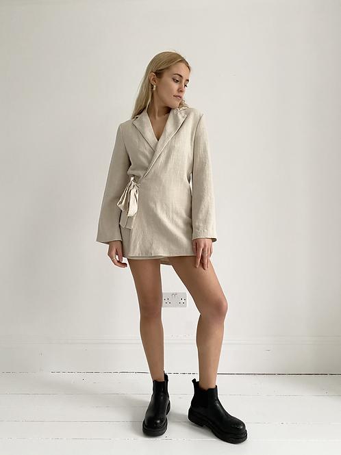 Cream linen blazer dress