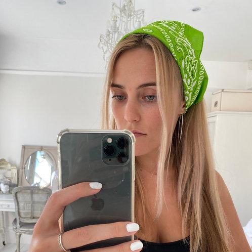 Lime green bandana hair accessory