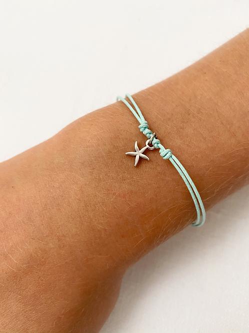 Blue starfish tie bracelet