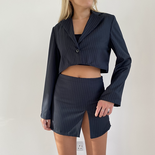 Black pinstripe slit mini skirt