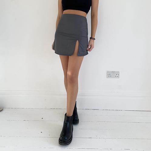 Grey slit mini skirt