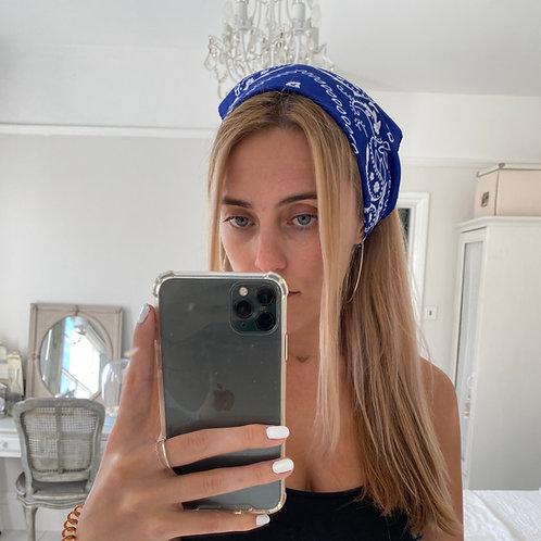 Royal blue bandana hair accessory
