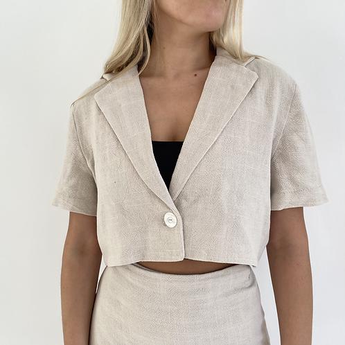 Short sleeve cream linen shirt