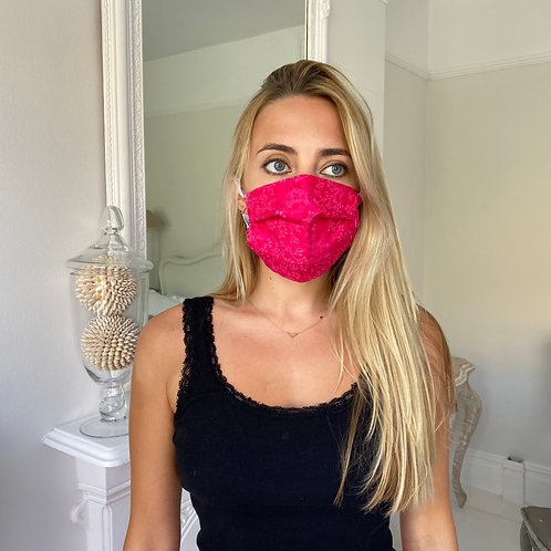 Bright pink floral facemask