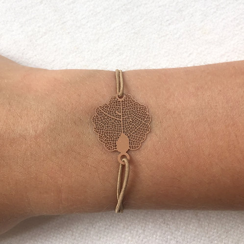 Tan oak leaf bracelet