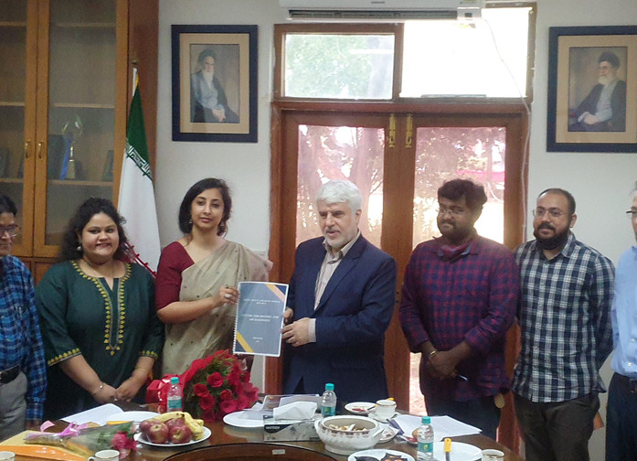 Ms. Ishani Sinha, Head, IRD presenting CHA Booklet along with CHA Team to Dr Mohd. Ali Rabbani, Cultural Counsellor, ICH