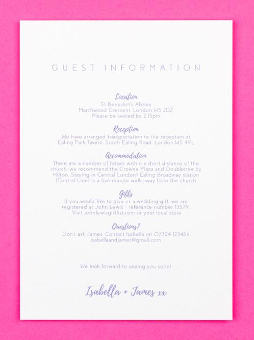 Wedding Guest Info Card Love Letter Cornflower Catalena Co Uk