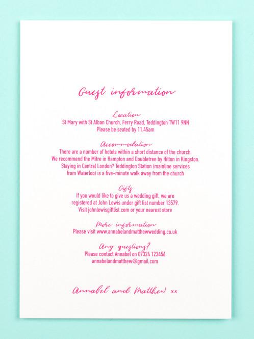 Wedding Guest Info Card Sweetheart Fuchsia Catalena Co Uk