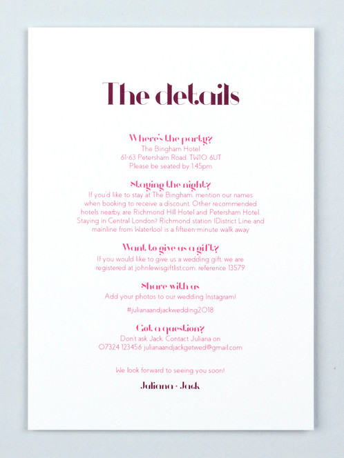 Wedding Guest Info Card Ding Dong Claret Catalena Co Uk