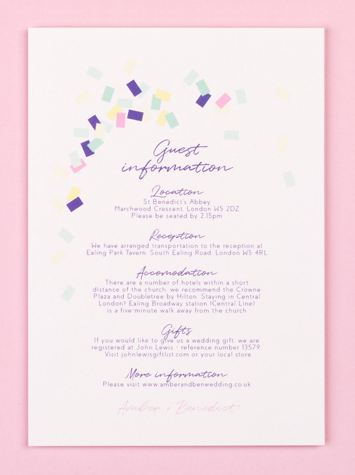 Wedding Guest Info Card Calyx Lilac Catalena Co Uk