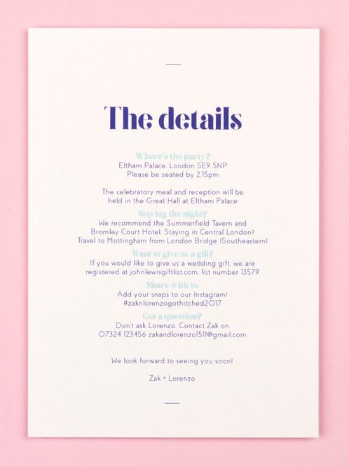 Wedding Guest Info Card Allegra Royal Blue Catalena Co Uk