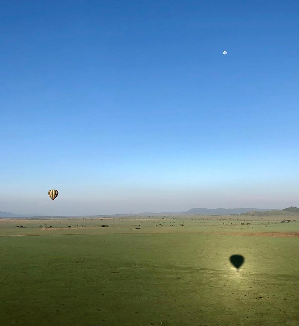 La plaine du Serengeti vue de la Mongolfiere