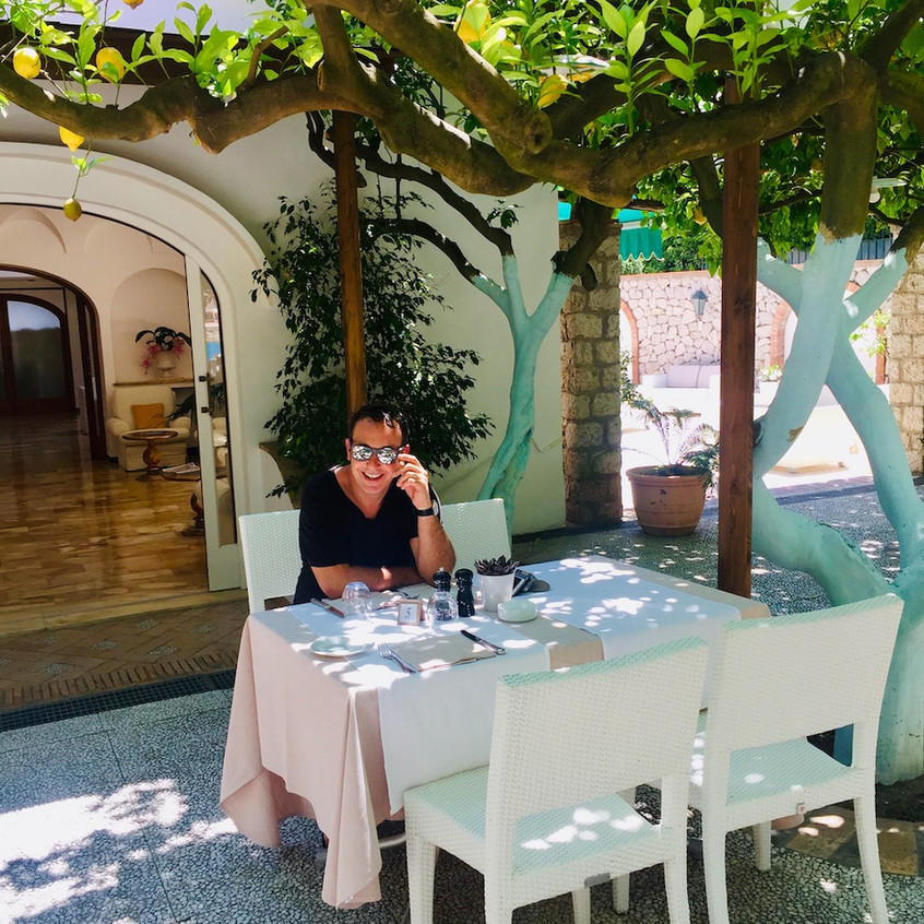 La terrasse de l'hôtel Syrene