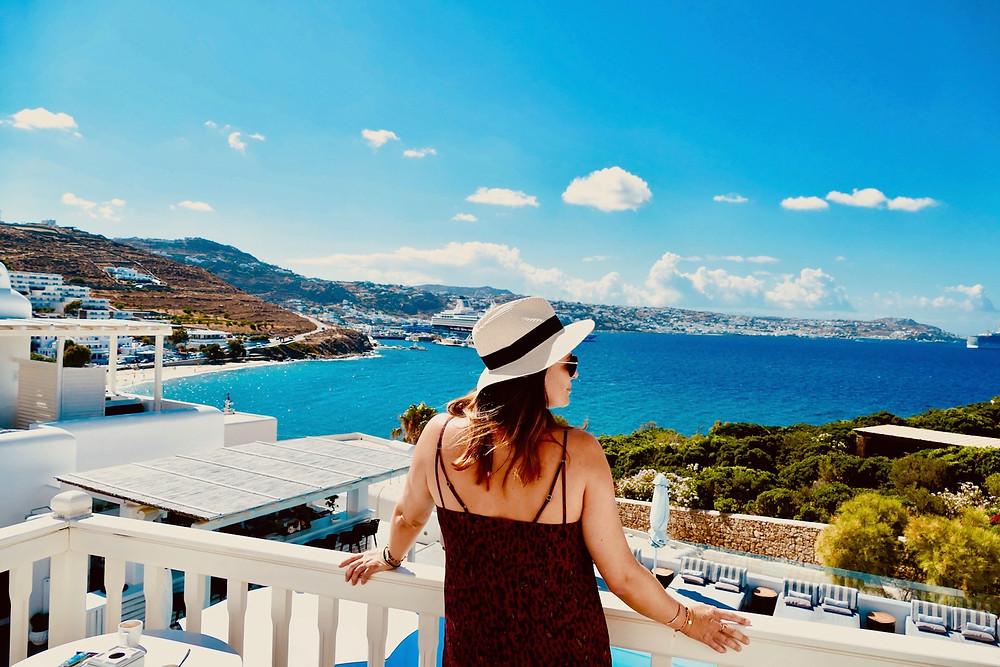 Vue sur Chora depuis l'hôtel Princess of Mykonos