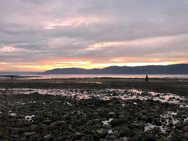 Coucher de soleil baie des ha ha à Saguenay