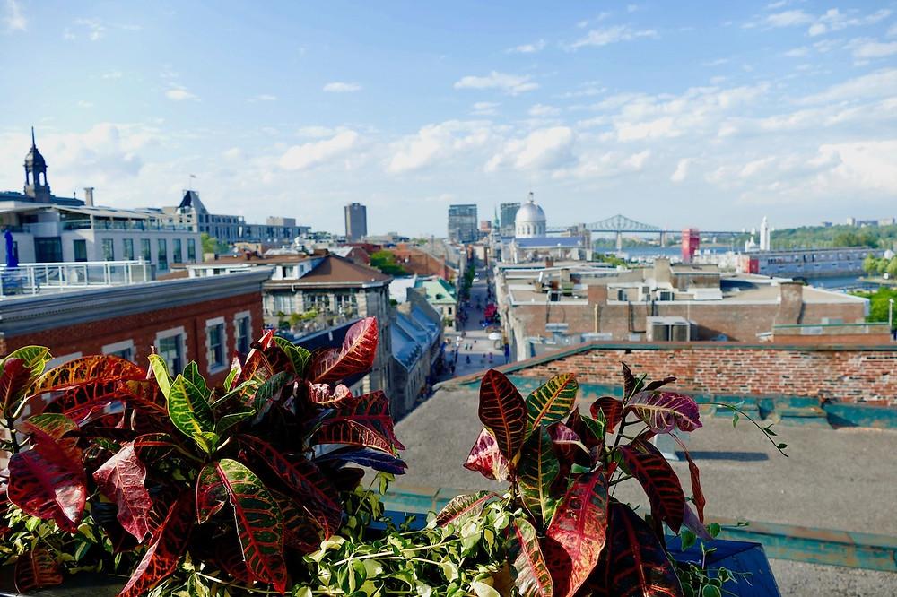 Vue sur le Vieux Montreal depuis l'Auberge du Port