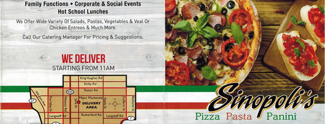 Sinopoli Foods Take Out and Deliver Menu