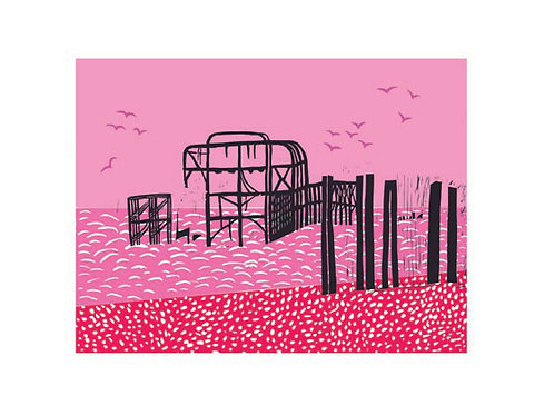 A5 Card 'Pink Pier' by ClairyB