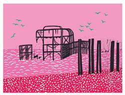 Brighton Pier lino cut