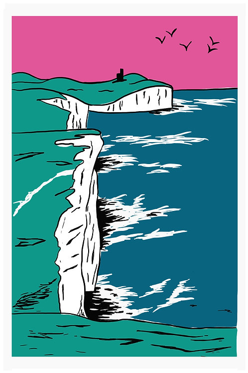 'Birling Gap' giclee print by ClairyB