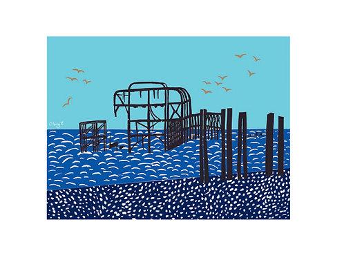 'Blue Pier' giclee print, ClairyB