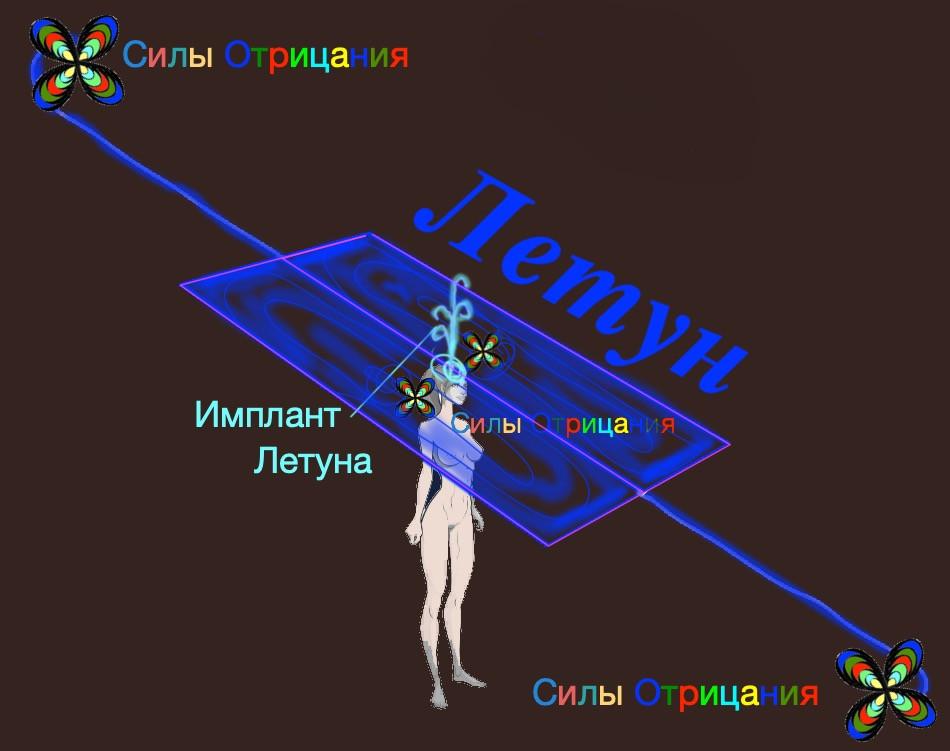 Летун и имплант на макушке, управляемые силами Отрицания