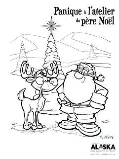 Slush le lutin, livres de Noël- père Noël et nez rouge, dessin à colorier