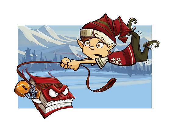 Livre de Noël- Slush le lutin- Noël en péril- Illustration Martin Aubry, auteur Jean-François Faucher