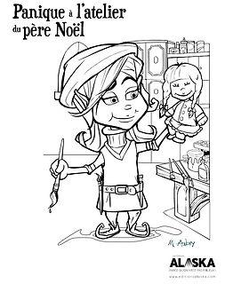 Slush le lutin, livres de Noël- la lutine Marie-Neige, dessin à colorier