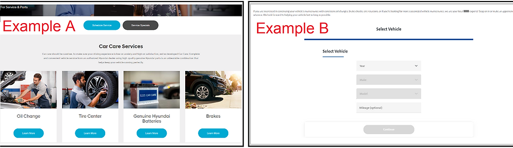 Sample of two different Service Department landing pages