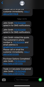 Text notifications from Quotible