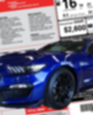 Blue Shelby in front of a sample actual build data background