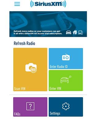 Sirius XM App homepage