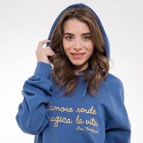 """Felpa """"L'Amore rende magica la vita"""" - Blu denim/oro"""