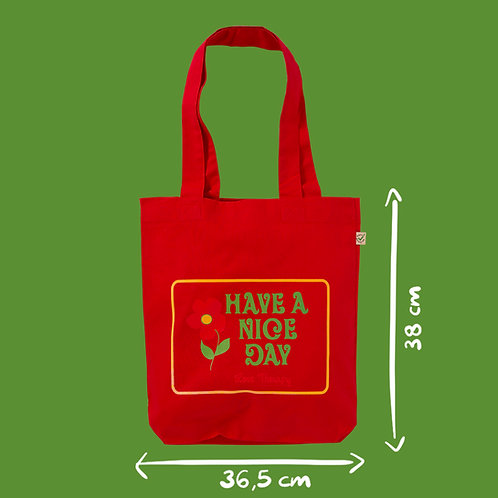 Shopper cotone rosso / red - Have A Nice Day