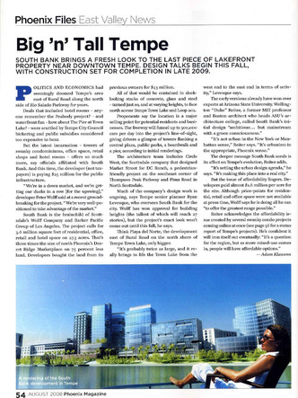 South Bank Tempe article (Aug 2008 issue