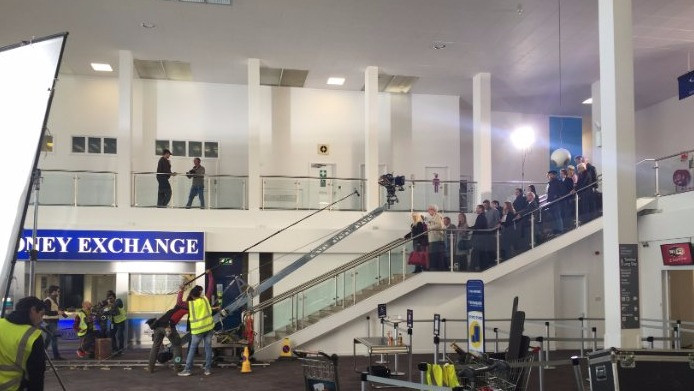 Filming well underway for the movie on the terminal stairs - ©GlasgowPrestwickAirport